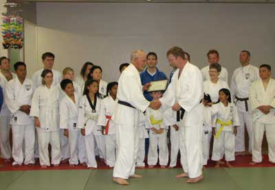 Black belt promotion for Jerrod Wilson at Oxnard Buddhist Temple, October 12, 2007